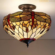 Tiffany Plafondlamp Dragonfly Gold Medium