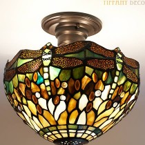 Tiffany Plafondlamp Dragonfly-Green Small