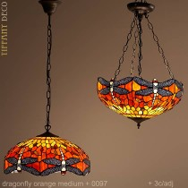 Tiffany hanglamp Dragonfly Orange Medium