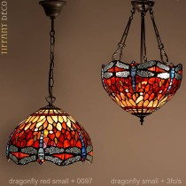 Tiffany hanglamp Dragonfly Red Small
