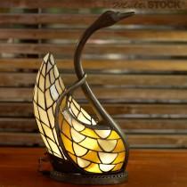 Tiffany lampje zwaan geel