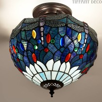 Tiffany Plafondlamp Dragonfly Blue Small
