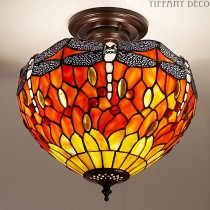 Tiffany Plafondlamp Dragonfly Orange Small
