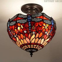 Tiffany Plafondlamp Dragonfly-Red Small