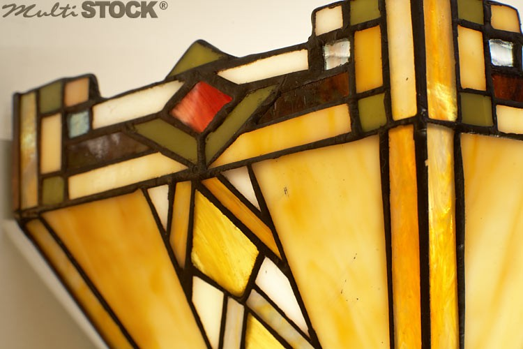 Vintage art deco tiffany style stained glass wall lamp applique
