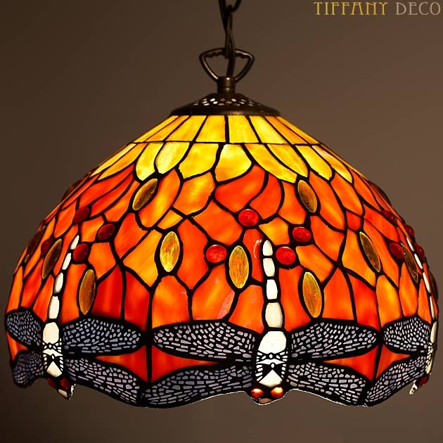 lampe suspendue dragonfly orange small les plus belles lampes tiffany. Black Bedroom Furniture Sets. Home Design Ideas