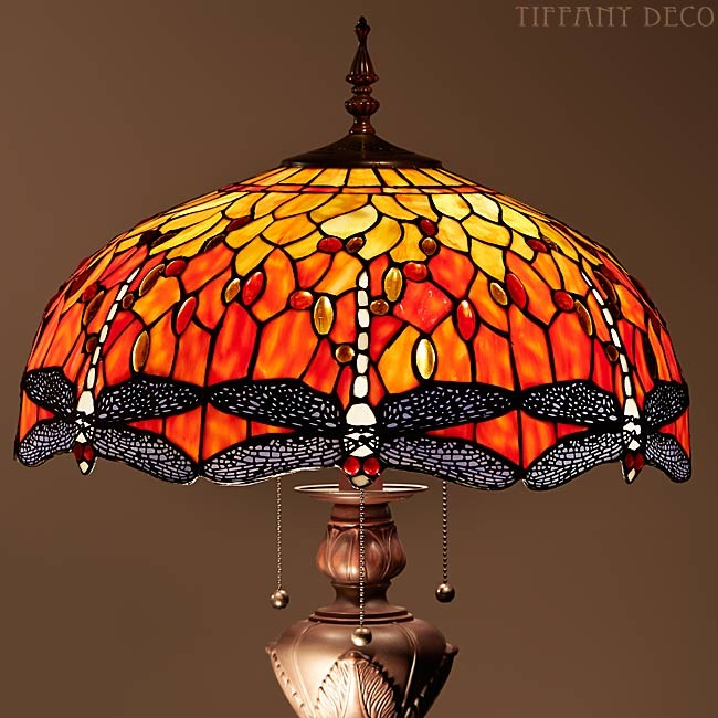 lampadaire dragonfly orange lampadaires lampes tiffany les plus belles lampes tiffany. Black Bedroom Furniture Sets. Home Design Ideas