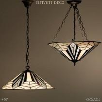 Tiffany hanglamp Art Déco B&W Plat