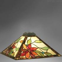 Vierkante Tiffany kap Rode bloem Medium