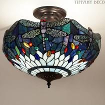 Tiffany Plafondlamp Dragonfly Blue Medium