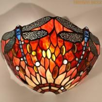 Tiffany wandlamp Dragonfly Red